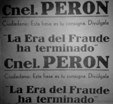 Afiche callejero. Recogido en Comicios Ejemplares, un cuadernillo que el gobierno peronista publicó tras la victoria de febrero del 46.