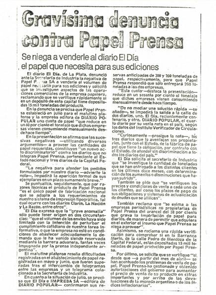 Papel Prensa - Denuncia El Día